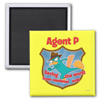 Agent P Saving the world from maniacal evil Badge 2 Inch Square Magnet
