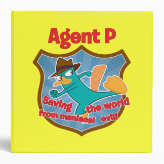 Agent P Saving the world from maniacal evil Badge 3 Ring Binder
