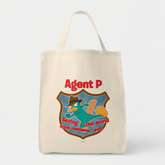 Agent P Saving the world from maniacal evil Badge Canvas Bag