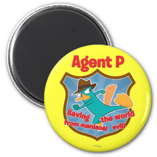 Agent P Saving the world from maniacal evil Badge Magnet