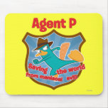 Agent P Saving the world from maniacal evil Badge Mouse Pad