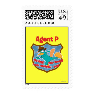 Agent P Saving the world from maniacal evil Badge Postage Stamps