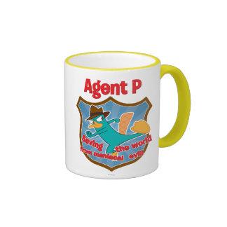Agent P Saving the world from maniacal evil Badge Ringer Mug