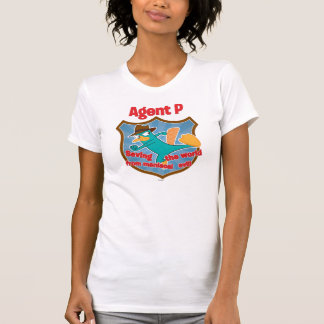 Agent P Saving the world from maniacal evil Badge Tshirts
