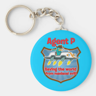 Agent P Saving the world from maniacal evil Car Basic Round Button Keychain