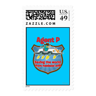 Agent P Saving the world from maniacal evil Car Postage Stamps