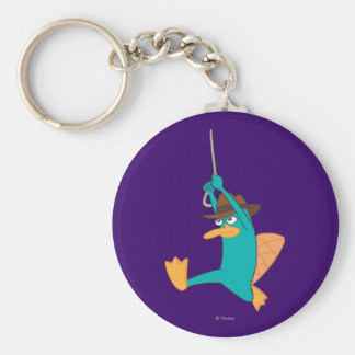 Agent P Swinging from Rope Basic Round Button Keychain
