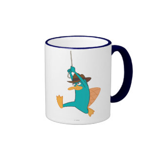 Agent P Swinging from Rope Ringer Coffee Mug