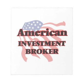Agente americano de la inversión libreta para notas