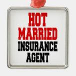 Agente de seguro casado caliente adorno cuadrado plateado