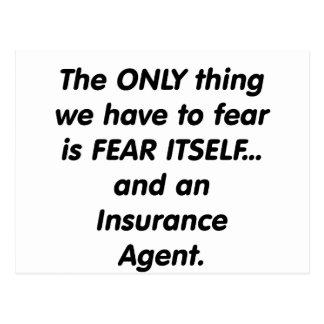 Agente de seguro del miedo tarjeta postal