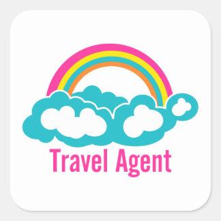 Agente de viajes de la nube del arco iris pegatina cuadrada