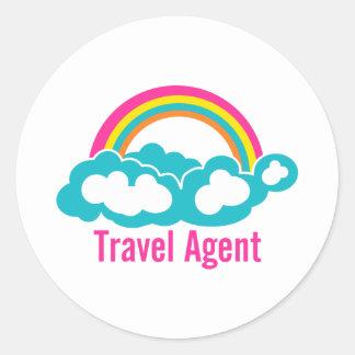 Agente de viajes de la nube del arco iris pegatina redonda