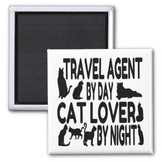 Agente de viajes del amante del gato imán cuadrado