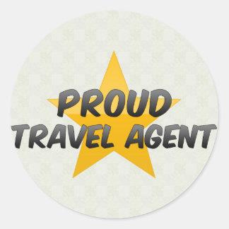 Agente de viajes orgulloso pegatina redonda