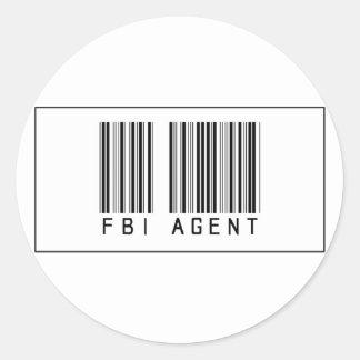 Agente del FBI del código de barras Pegatina Redonda
