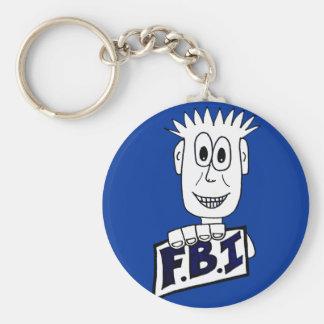 Agente del FBI del dibujo animado Llavero Redondo Tipo Pin