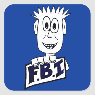 Agente del FBI del dibujo animado Pegatina Cuadrada