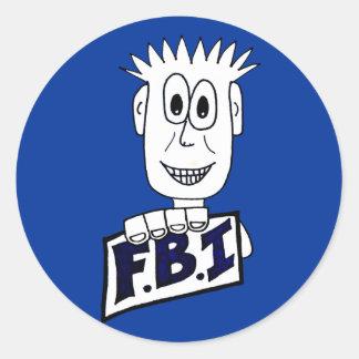 Agente del FBI del dibujo animado Pegatina Redonda