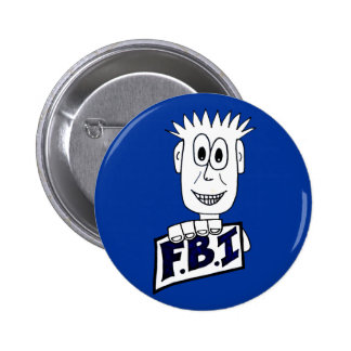 Agente del FBI del dibujo animado Pin Redondo De 2 Pulgadas
