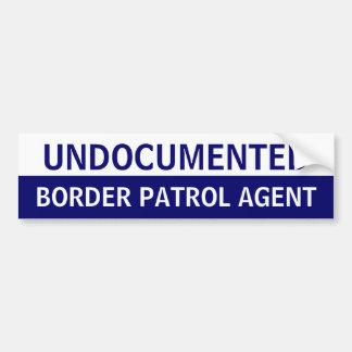 Agente indocumentado de la patrulla fronteriza pegatina para auto