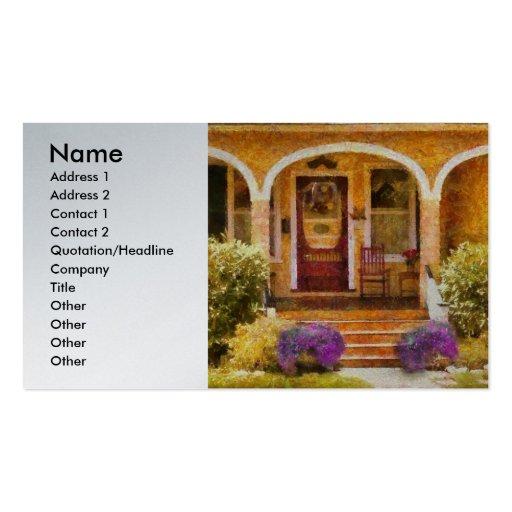 Agente inmobiliario - abuela que visita tarjetas de visita