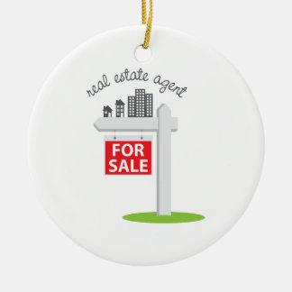Agente inmobiliario adorno navideño redondo de cerámica