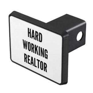 Agente inmobiliario de trabajo duro tapa de tráiler