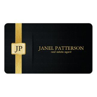 Agente inmobiliario elegante del negro y del oro tarjetas personales