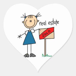 Agente inmobiliario pegatina en forma de corazón
