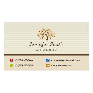 Agente inmobiliario - símbolo elegante del árbol tarjetas personales