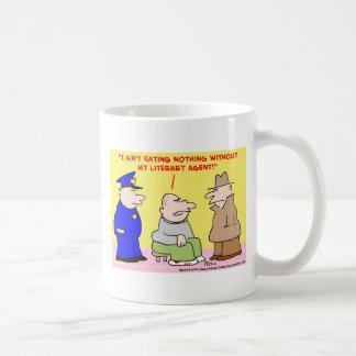 agente literario criminal taza de café