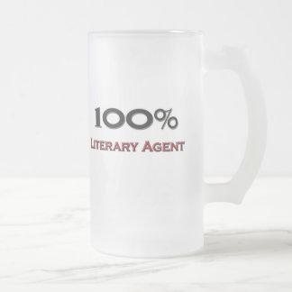 Agente literario del 100 por ciento taza de cristal