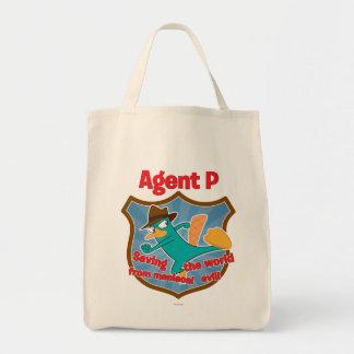 Agente P que ahorra el mundo de insignia malvada Bolsa Tela Para La Compra
