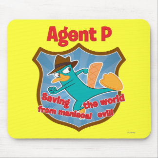 Agente P que ahorra el mundo de insignia malvada m Alfombrilla De Ratones