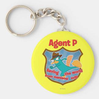 Agente P que ahorra el mundo de insignia malvada m Llavero Redondo Tipo Pin