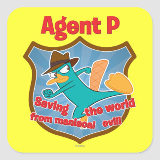 Agente P que ahorra el mundo de insignia malvada m Calcomanía Cuadrada Personalizada
