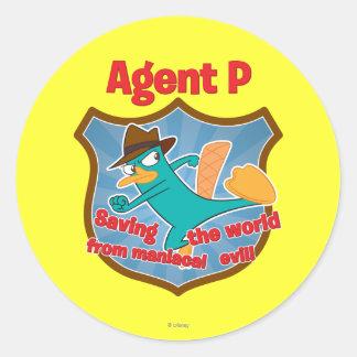 Agente P que ahorra el mundo de insignia malvada m Etiqueta