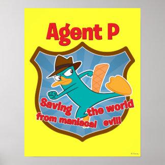 Agente P que ahorra el mundo de insignia malvada m Póster