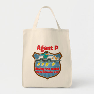 Agente P que ahorra el mundo del coche malvado Bolsa Tela Para La Compra