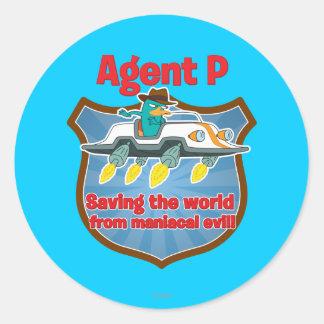 Agente P que ahorra el mundo del coche malvado man Etiqueta