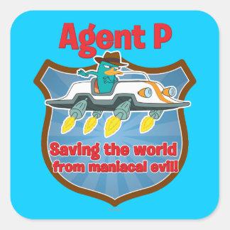 Agente P que ahorra el mundo del coche malvado man Calcomanías Cuadradas