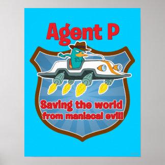Agente P que ahorra el mundo del coche malvado man Póster