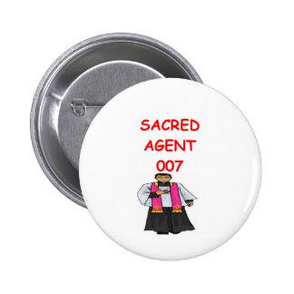 agente secreto del sacerdote pin redondo de 2 pulgadas