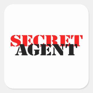 Agente secreto pegatina cuadrada