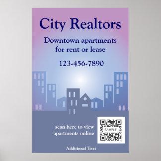 Agentes inmobiliarios de la ciudad de la plantilla posters
