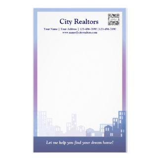 Agentes inmobiliarios de la ciudad de la plantilla papeleria personalizada