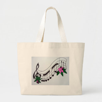Aggelikis Musical Notes Design Large Tote Bag