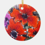 Aggelikis Red Anemones Flower Design Christmas Ornament