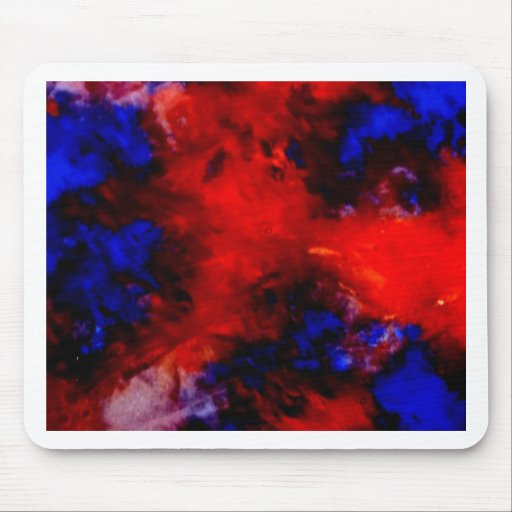 Aggelikis Red, Blue & Black Abstract Design Mouse Pad